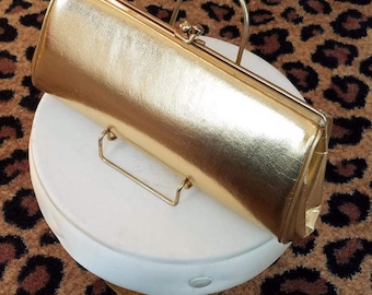 Clean, Vintage, 1960's, Gold, Metallic, Clutch, Purse, Handbag