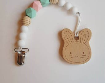 Pacifier Clip/Easter Paci Clip/Mint and White Paci Clip/Silicone Bead Paci Clip