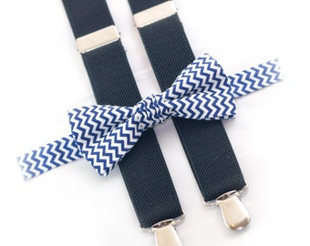 boys birthday outfit, navy chevron bow tie & black suspenders, kids bowtie and suspenders