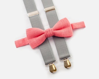 boys wedding outfit, coral bow tie & light gray suspenders, ring bearer outfit
