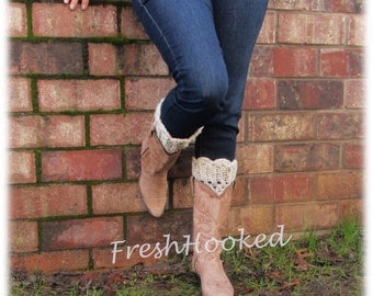 Boot Cuffs, Boot Topper, Off White, Scalloped