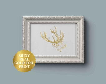 Wall Art Print, Deer Print, Deer Antlers, Stag Print, Animal Print, Gold Foil Print, Gold Foil Art, Deer Head, Office wall Art, Buck Print