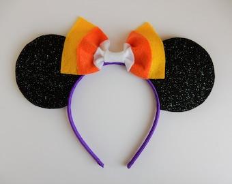 """Halloween Minnie Ears - """"Candy Corn"""" Mouse Ear Headband"""
