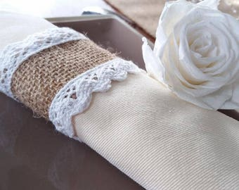 Napkin ring in Burlap and lace