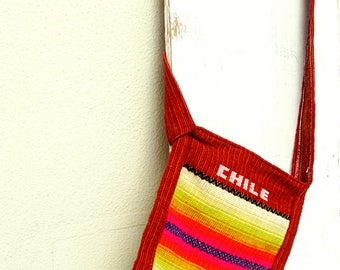 Crossbody tote bag ethnic woven Chile tribal bag kilim carpet bag cross body canvas Hippie sling bag colorful bag Vintage