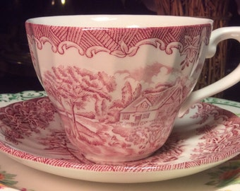 Pretty in Pink-Churchill Staffordshire Teacup and Saucer