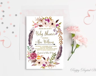 Floral Baby Shower Invitation Printable Boho Baby Shower Invite Gold Foil Typography Bohemian Baby Shower Spring Baby Shower Digital File
