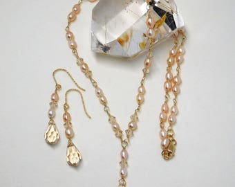 Fresh water pearl and Swarovski crystal matching necklace and earrings set