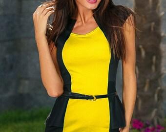 Office dress yellow Dress casual wear Midi dress Sheath dress black white Casual womens dress Knee jersey dress Spring dress short sleeve