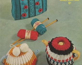 Teapot Cosy PDF Knitting Pattern : 3 designs . Tea Pot Cosies . DK . Home Knitting . Instant Digital Download