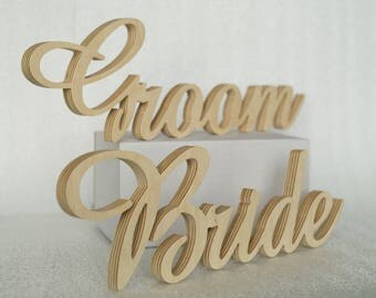 Bride and Groom Signs, Set of Wedding Chair Signs, Chiavari Chair Decor, Chair Back Signs, Wedding Chair Sign for Reception
