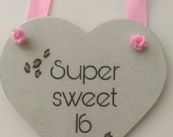 Super sweet 16, 16th birthday gift, gift for her, home decor, bedroom decor, girls bedroom, leopard print, cool gift, keepsake, friend gift