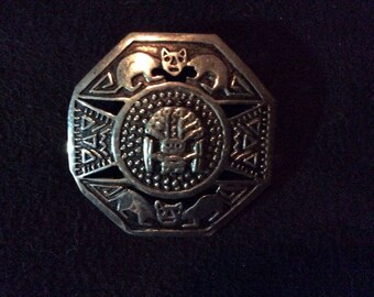 Peruvian Aztec Style Sterling Brooch/Pin With Jaguars