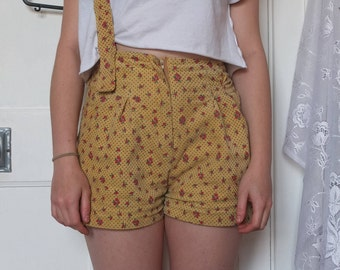 Floral Yellow Shorts With Brace