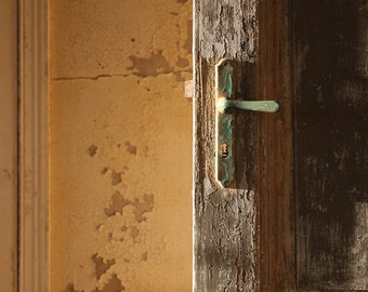 door photography, abandoned house, keyhole, patina, rustic home decor, fine art photography, Namibia, Africa, old wooden door, 16x24 print