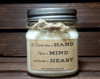 Teacher Gifts - Mentor Gifts - 8oz Soy Candles Handmade - Personalized Candles - Mason Jar Candles - Thank You Gifts - Natural Candles
