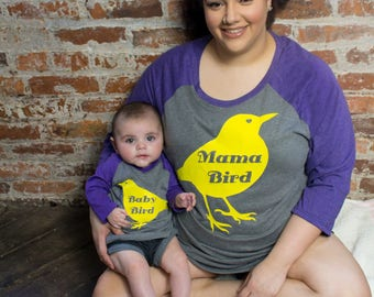 Mama Bird, Mommy & Me Baseball Raglan 2 Tone 3/4 Sleeve Womens Shirts in 6 Colors in Sizes Small-4X, Plus Size