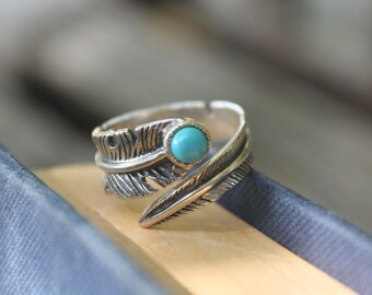 Silver feather ring Sterling silver ring Turquoise ring Bohemian ring Gypsy ring Hippie ring 925 silver ring Boho ring Gift for her