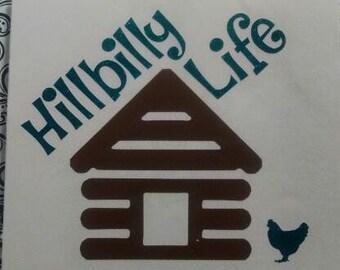 Hillbilly Decal/Cabin Monogram/ Monogram/Decal/ Vinyl Decal/ Hillbilly Life Monogram/ Sticker/Yeti Cup Decal/ Hillbilly Log Cabin Decal