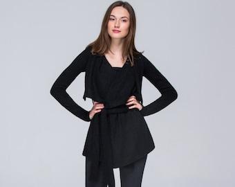 Black Oversized Cardigan\ FREE Shipping\ CUSTOM MADE\  Wrap Top Jacket\ Cardigan Sweater with Belt\ Womens Clothing\ Short Party Jacket