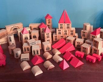 Vintage Wooden Village Blocks - Set of 90 - Red and Natural