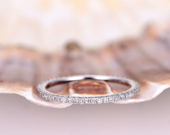 Diamond wedding band FULL eternity ring Petite French V micro pave diamond matching band engagement ring solid 14k White gold stacking ring