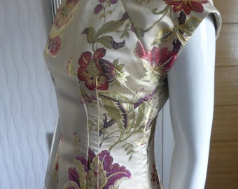 Gold Floral Chinese style dress 1950's dress pattern