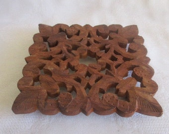 Vintage Hand Carved Wooden Trivet Made in India