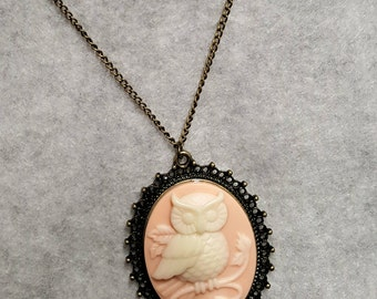 Cameo Owl Pendant on Antique Gold Chain