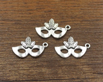 20pcs Mask Charm Antique Silver Tone 26x16mm - SH371
