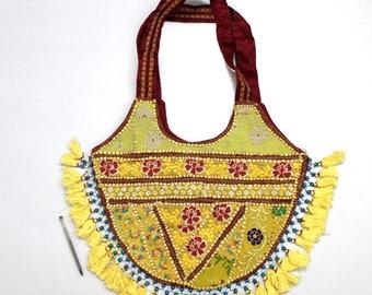 Handmade Ethnic Designer Tribal Banjara Patchwork Embroidered Hippy Fashionable Stylish Trendy Hippie Gypsy Boho Bohemian Shopper Bag F147