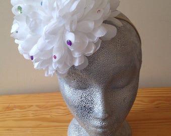 White pompom headband with coloured gems