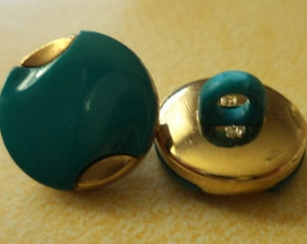 12 BUTTONS 12mm turquoise gold (5172) button