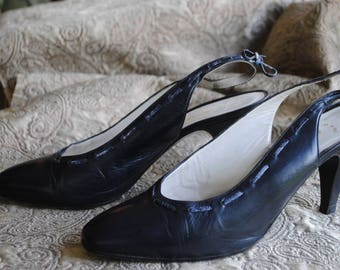 Shoes leather Navy Blue 1960