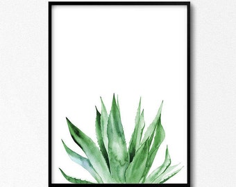 Watercolor plants, Agave plant, Agave Print, Tropical Print, Watercolor Illustration, Botanical Illustration, Plants Print, Tropical Poster