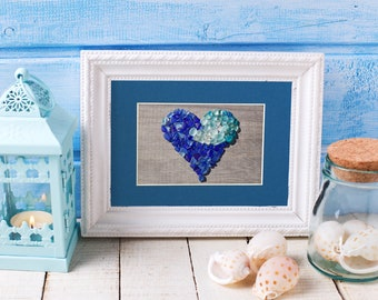 """Blue Sea Glass Wave Ombre Heart Print - 8x10"""" mat with 5x7"""" seaglass mosaic print"""