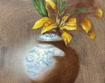 painting still life study: flower in vase
