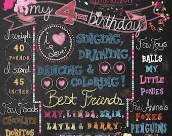 Pinkie Pie Chalkboard Birthday Poster
