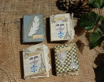 Set of 4 Mini Books, Travel Journal, Miniature Books, Bookbinding, Journal, Moon, Paris, Childs Gift, Scrapbooking, Notebook, Vintage, Lace