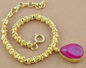 AAA 1 Piece Natural Window Druzy Bracelet,Dainty Bracelet,Pink druzy bracelet,Agate Druzy,24k Gold Filled Chain,Free Shipping Jewelry LE057