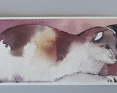 Bookmark original watercolor painting /  Cat / Weissenberger Christine