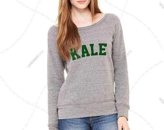 """Womens - Girls - Premium Relaxed fit Wide Neck Sweatshirt """"Kale"""" Fashion Fit, Bella + Canvas Los Angeles"""
