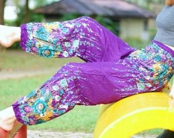 Purple flower pants Hippie clothes Hippie clothing stores Harem pants women Yoga pants High waist pants Wide leg pants