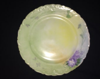 """Gorgeous T&V limoges France Cake Sering Plate 10 3/8"""" Platter Dish Plate Tray Purple Flowers Hand Painted French Vintage"""