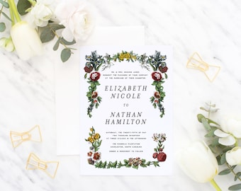 Printable Wedding Invitation Suite / Vintage Botanicals / Wedding Invite Set - The Vintage Garden Suite