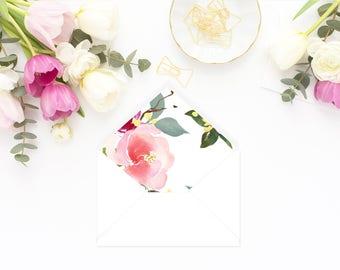 Printable Envelope Liner  | Botanical Envelope Liner | Envelope Liner Template - Audra Rose