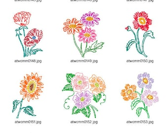 Flowers-Swing-Style ( 10 Machine Embroidery Designs from ATW )