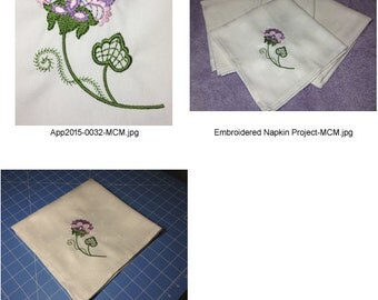 Embroidered-Flower-Napkin-Project ( 1 Machine Embroidery Designs from ATW )
