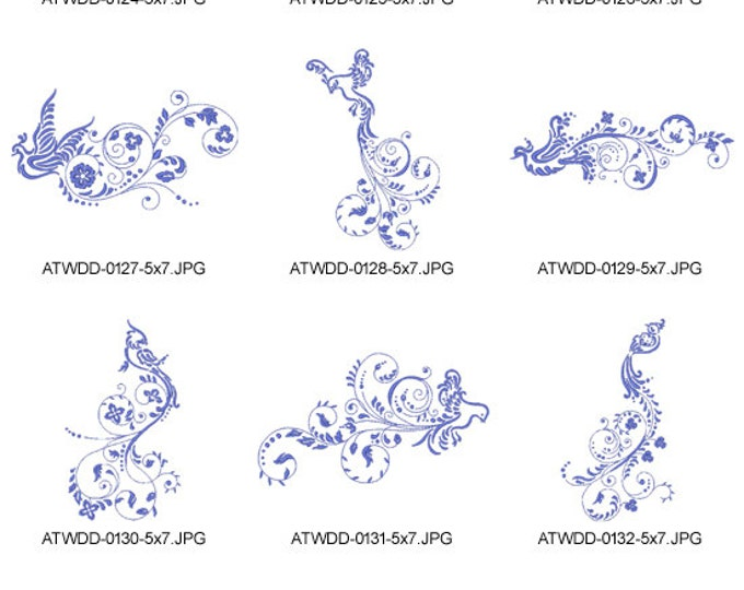 Art-Deco-Birds 5x7 ( 10 Machine Embroidery Designs from ATW )