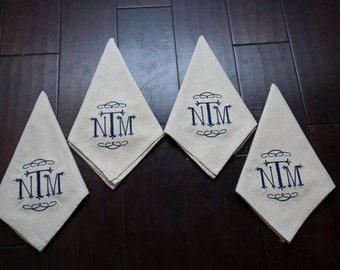 Set of Embroidered Monogrammed Napkins
